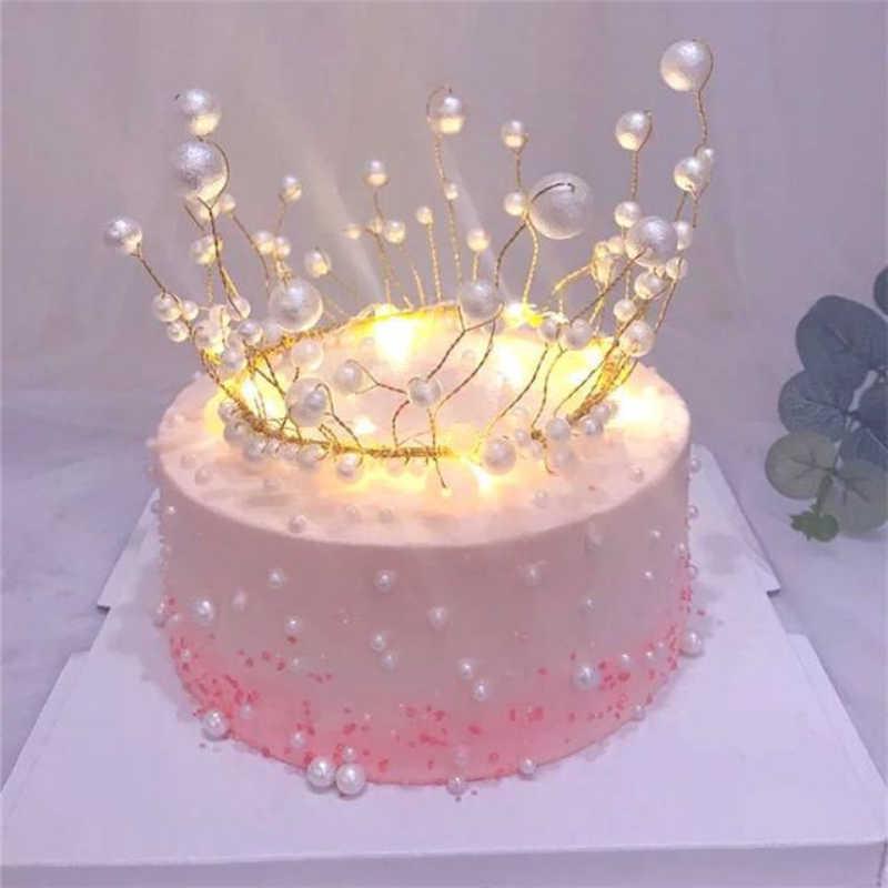 Métal perle princesse couronne gâteau Topper brillant perles artificielles coiffure mariage et fiançailles gâteau Decora anniversaire Topper à la main
