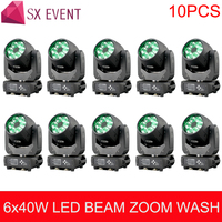 Professional DMX led stage lights 6x40W RGBW 4in1 Bee Eye Moving Head Light ZOOM Wash Function DJ Party Lighting