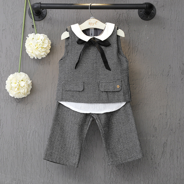 2016 New Autumn Korean Children Clothing Baby Girls Sleeveless Turn Down Collar Blouse+Pant 2pcs Girls Outfits Toddler Set 2-7Y