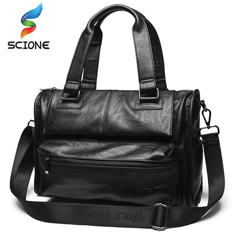 Top PU Leather Outdoor Sports Gym Bags Men Fitness Training Multifunction Shoulder Messenger Bag Travel Handbag Crossbody Bag