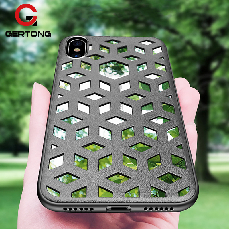 GerTong Case For iPhone X 8 7 6 6S Plus Soft TPU+Pu Leather Cover For iPhone X 8 7 6 6S Plus Reflective Mirror Hollow Housing