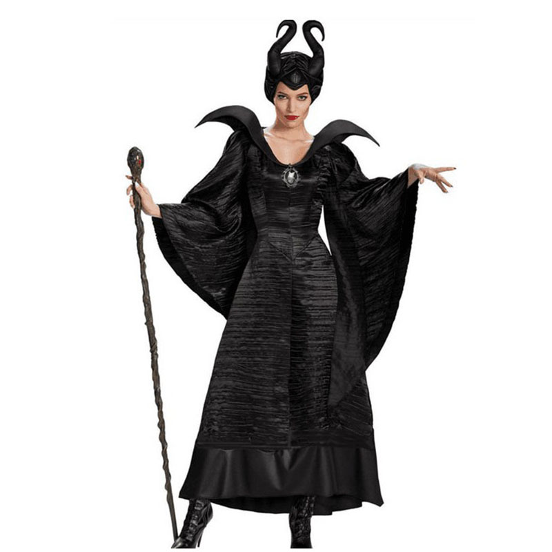 Movie Maleficent Outfits Costume Girls Dress Black Sleeping Beauty Queen Maleficent Cosplay Witch Costume Adult Women