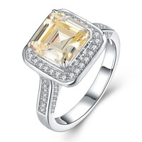 2018 Fashion Ring New Style Cushion Cut 4ct 5A Zircon Stone 925 Sterling Silver Engagement Wedding