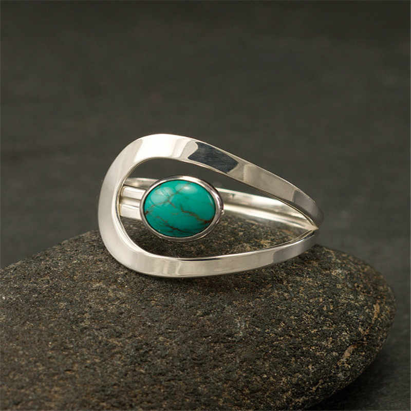 Retro Small Round Natural Stone Ring Bobo Jewelry Delicate Blue Turquoises Finger Ring Bague For Women Girls Gift L4J433