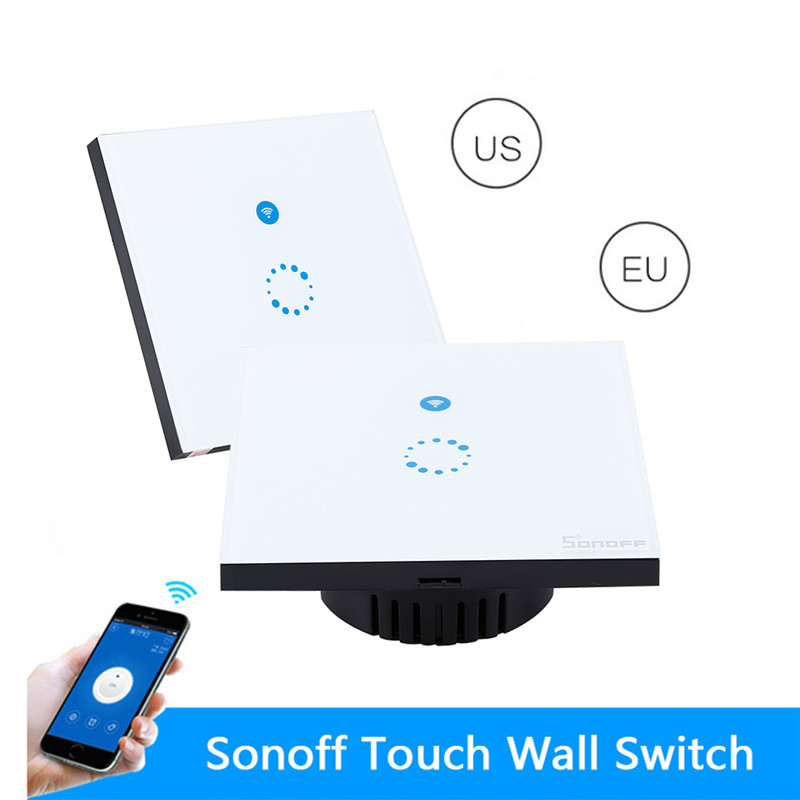 ITEAD Sonoff Touch Wifi Switch Luxury Glass1 Gang1Way wall Wireless Timing Switch Remote Control Via APP For Smart Home eu us smart home remote touch switch 1 gang 1 way itead sonoff crystal glass panel touch switch touch switch wifi led backlight
