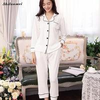 2018 Autumn New Arrival Women White Striped Pajama Sets Long Sleeve Sleepwear Set Two Pieces Big