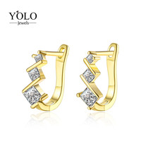 Luxury Hoop Earrings for Women with Shiny AAA Cubic Zirconia Earring Gold Color Earring Suitable for Parties Love Gift