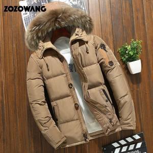 Image 1 - Мужская зимняя куртка на белом утином пуху, модная Толстая теплая парка с мехом, Повседневная Водонепроницаемая пуховая куртка, 90% пуха