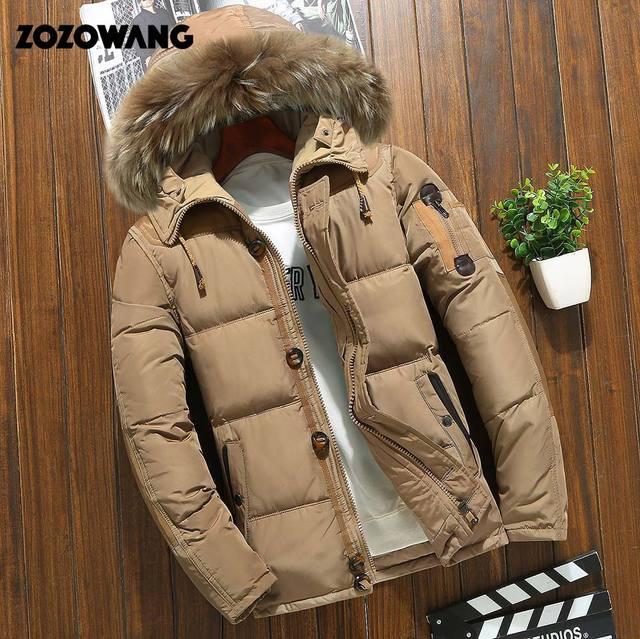 Мужская зимняя куртка на белом утином пуху, модная Толстая теплая парка с мехом, Повседневная Водонепроницаемая пуховая куртка, 90% пуха