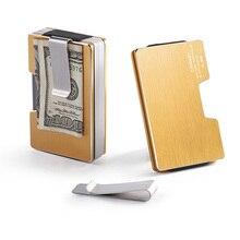 все цены на Wholesale New Metal Card Holder Women Credit Card Holder Rfid Wallet Blocking Portable Card ID Holders Men Aluminum Clip