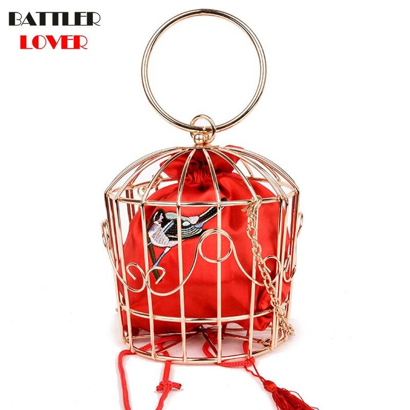Embroiderry Bird Frame Birdcage Bags for Women 2019 Bags Women Handbag Bolsa Feminina Shoulder Messenger Bag Handbags Womens Bag