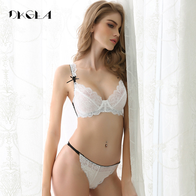 Sexy Thin Unlined Bra plus size underwear Set white Women Transparent Bra Set A/B/C/D cup Support Lace Bra Embroidery Lingerie