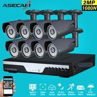 Новый 8ch 1080 P комплект видеонаблюдения видеорегистратор Регистраторы AHD открытый черного пуля 2mp безопасности Камера Системы комплект видео