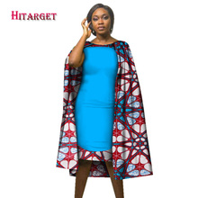 Hitarget Syksy Muoti Suunnittelu Cloak Dress Naisten korkealaatuiset O-kaula Afrikkalainen Naiset Painettu Dress Elegantti Mekot WY2114