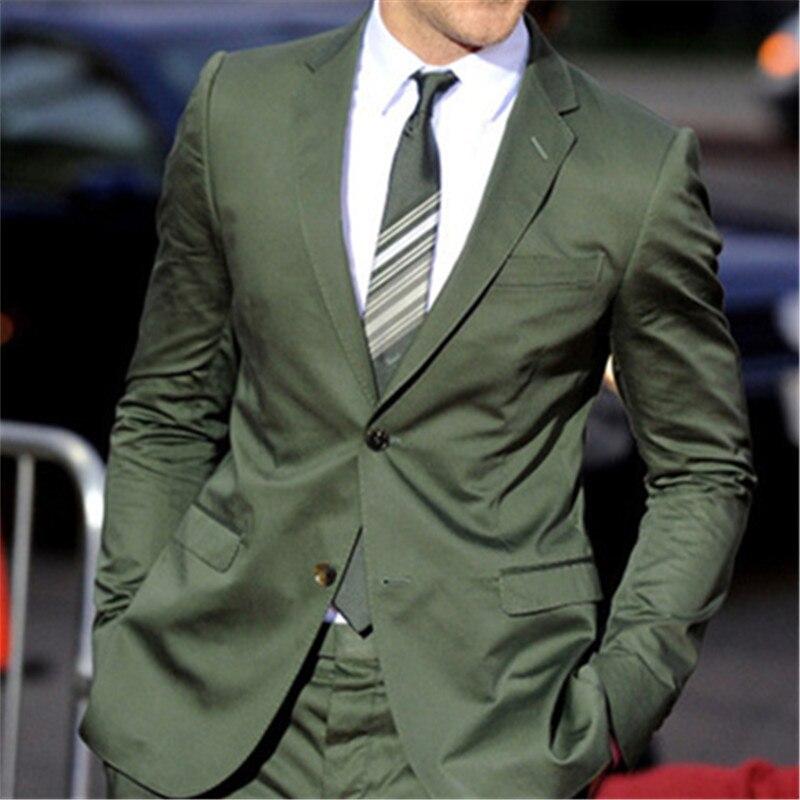 Vert Marié 2 pièces (Veste + Pantalon + Cravate) terno Masculino Meilleur Homme Deux Bouton Fossé de Revers Meilleur De Mariage Hommes Costume Blazer Personnalisé 136