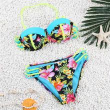 2016 New Sexy Bikini Bottoms Multi Color Floral Printing Bow Bikini Set Women's Strappy Bathing Suit Push Up Swimsuit Biquini