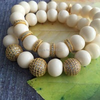 Gold CZ Pave Ball Bracelet Beige Riverstone Beads Stretch Strand Stacking Bracelet B15120909