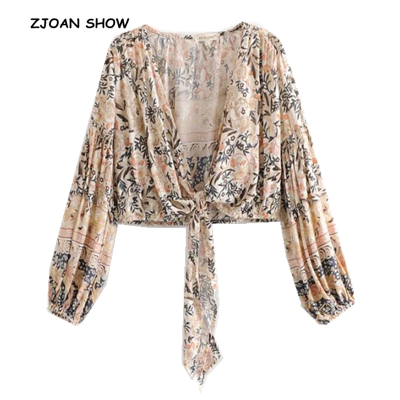 2019 New Women Bohemian Flower Leaves Print Kimono Shirt Khaki Ruched Puff Long Sleeve V-neck Lacing Up Bow Tide Cardigan Blouse