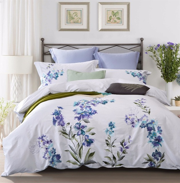 100% Cotton Embroidery Bedding Set 4pcs Quilt Cover White Blue Embroidered  Duvet Cover Bed Sheet