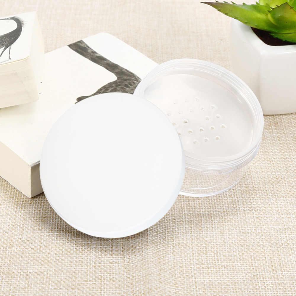 Pote de pó vazio reutilizável, 50ml plástico transparente maquiagem recipiente cosmético pote de viagem com preto/branco tampa da cor