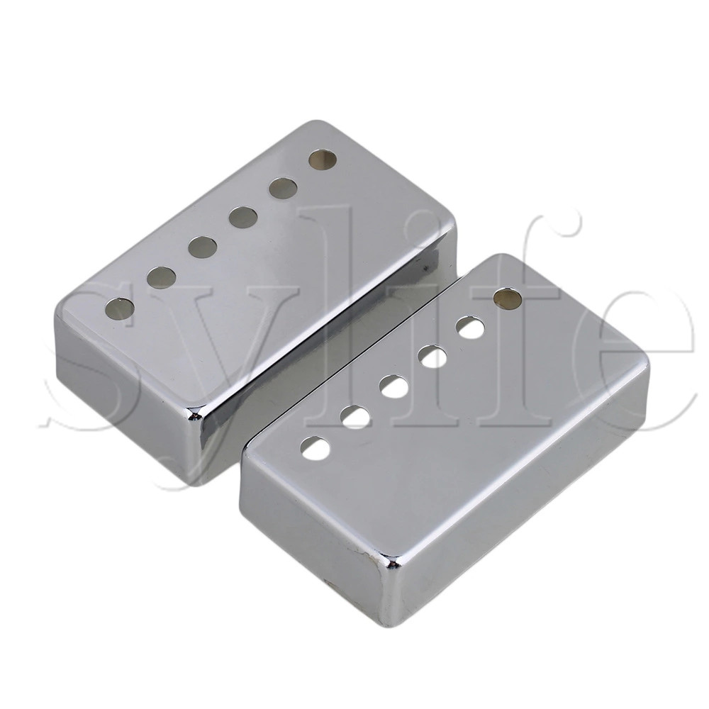 Pair Chrome Metal Guitar Humbucker Pickup Covers Set