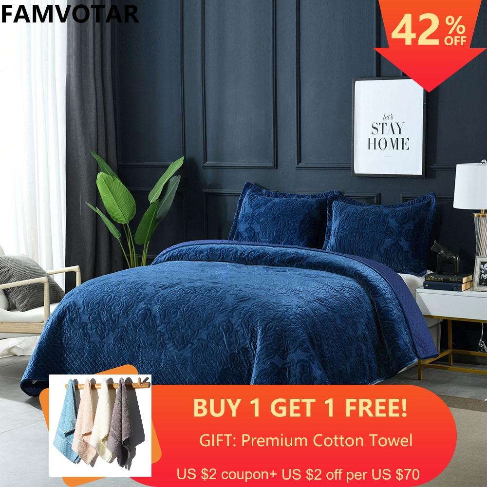 Luxury American Quilted Bedspread Set 3pcs Thick Winter Velvet Coverlets Cotton Quilts Embroidery Bed Covers King Size Blanket