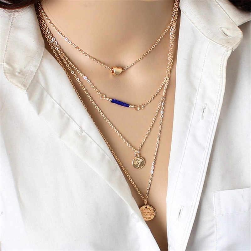Yeni Boho takı çok katmanlı gerdanlık kolye kadınlar için seksi ay moda kolye Vintage Collier püsküller gerdanlık kolye Bijoux