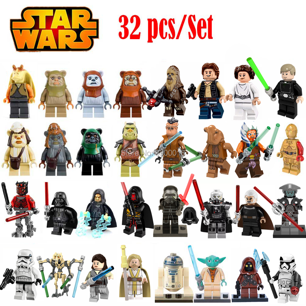 32pcs-set-legoing-star-wars-figures-leia-yoda-han-solo-font-b-starwars-b-font-jedi-knight-sith-darth-vader-luke-anakin-stormtrooper-bricks-toy