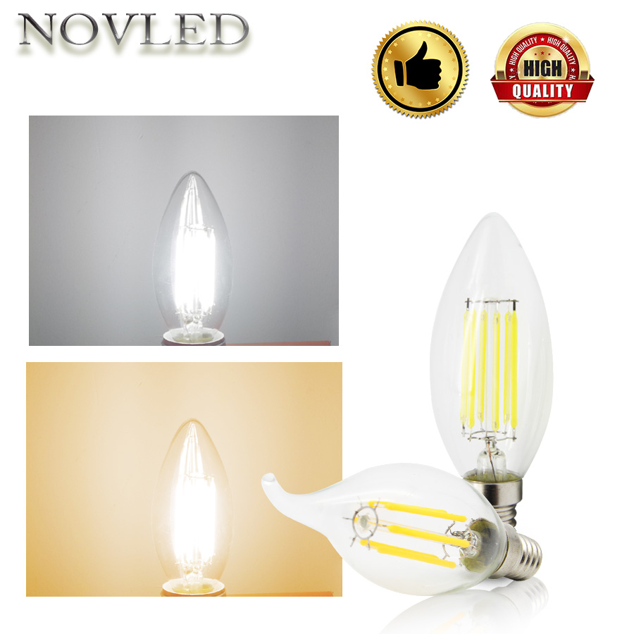 2W 4W 6W Pull Tail Light LED Bulb AC220V Candle Flame Bulbs E14 E27 Filament Incandescent Lamp Warm White Nature White Lighting