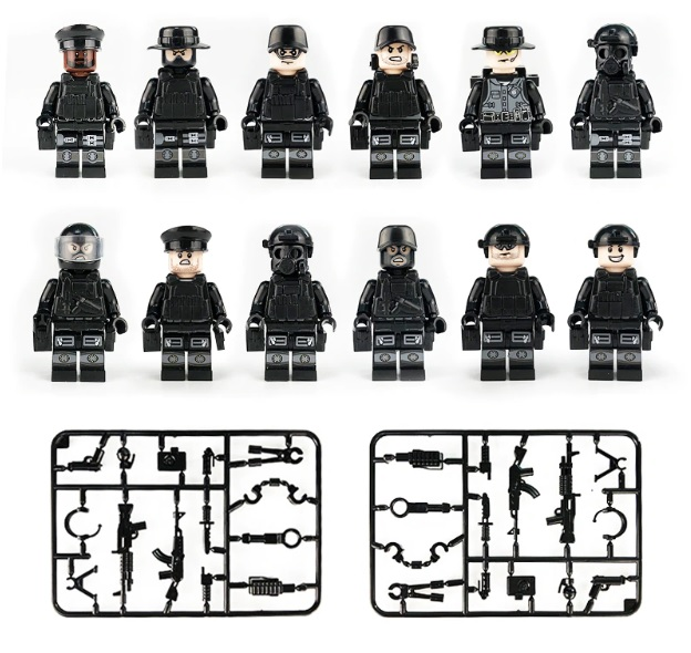 120PCS Military Teams Figure Set City Police Weapon Model Building Blocks kits Brick Toys for Children