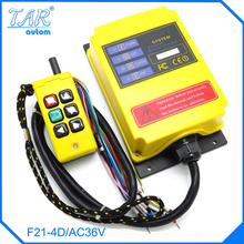 Speed two - speed four - direction crane crane crane industrial wireless remote control  1 transmitter + 1 receiver F21-4D/AC36V industrial wireless radio remote control f21 4d for hoist crane 2 transmitter and 1 receiver