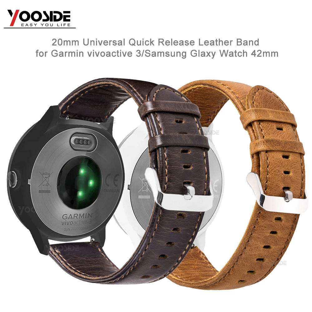 For Samsung Galaxy 42Mm Fast Launch 20Mm Real Leather-based Watch Band Strap For Garmin Forerunner 645/vivoactive three Sensible Watch