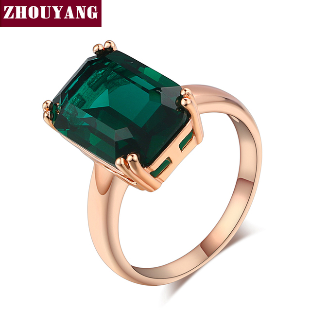 Top Quality Four Claw Big Crystal Elegant Rose Gold Color Ring Crystals From Austria Full Sizes ZYR700 ZYR701