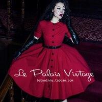 miễn phí vận chuyển le Palais cổ điển thanh lịch màu đỏ cổ điển peter pan cổ áo một nửa tay áo một mảnh váy