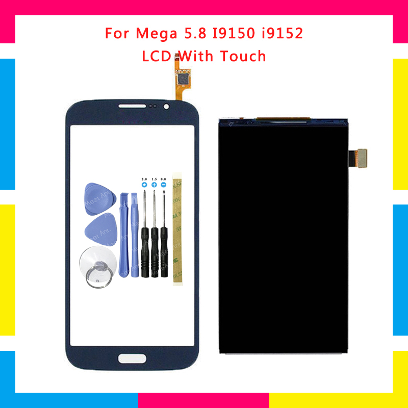 High Quality LCD Display With Touch Screen Digitizer Sensor Panel For Samsung Galaxy Mega 5.8 I9150 i9152 + Tools