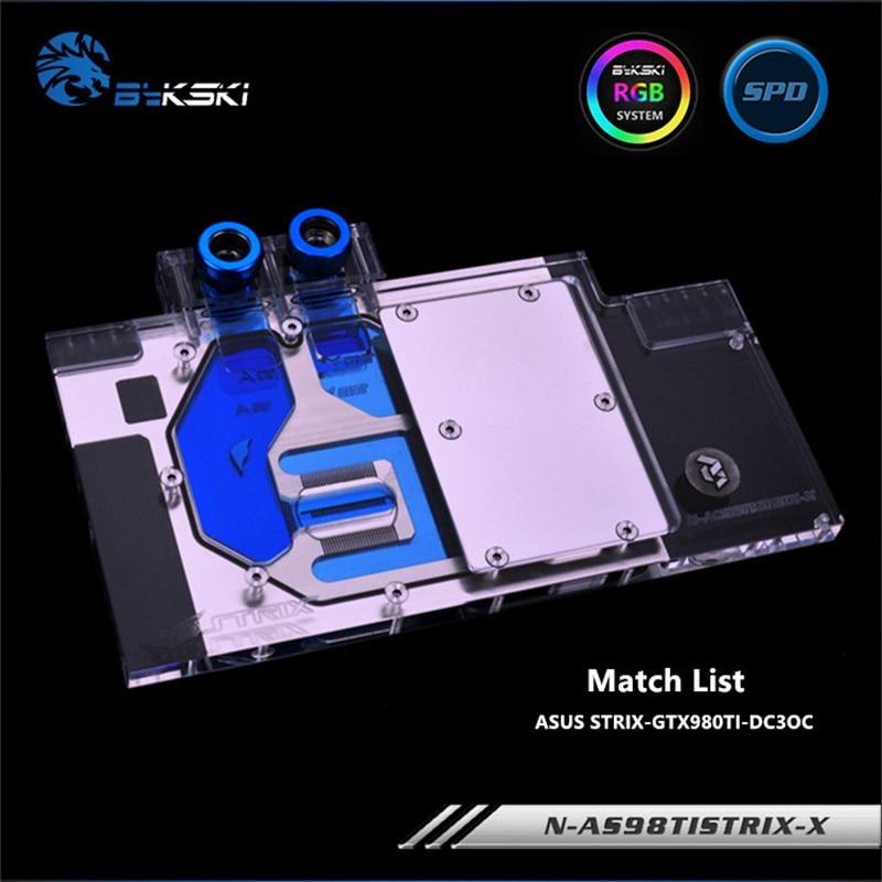 Bykski Full Coverage GPU Water Block For ASUS STRIX GTX 980TI Graphics Card N-AS98TISTRIX-X n titan x bykski gpu water cooler compatible for gtx titan x gtx 980ti x computer case watercooling block with controller