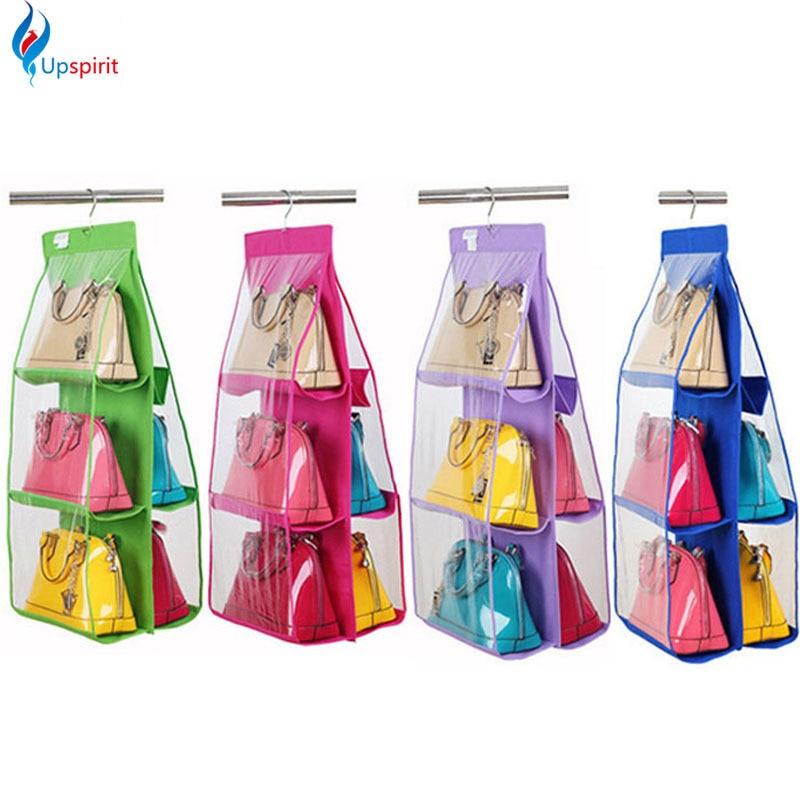 Hot Sale Pocket PVC Storage Bag Closet Wardrobe Rack Hangers Holder For  Fashion Handbag Purse Pouch