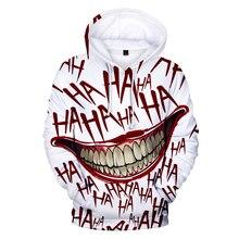 بلوزات هاها جوكر ثلاثية الأبعاد مطبوعة للرجال والنساء قميص الهيب هوب مضحك للخريف ملابس الشارع الشهير مزودة بغطاء للرأس ملابس الأزواج