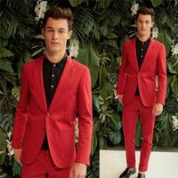 Fashion Red Groom Tuxedos Slim Fit Blazer Men Suits Pants Two Buttons Young Men Tuxedo high quality custom