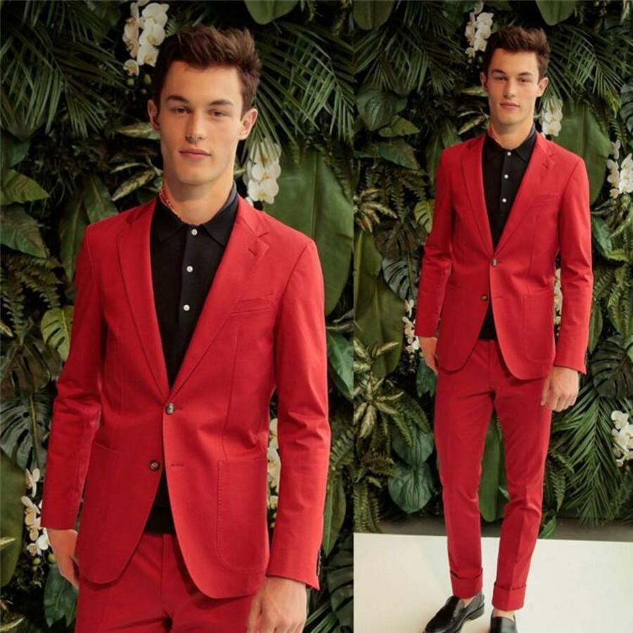 Popular Red Mens Groom Slim Fit Groom Suits-Buy Cheap Red Mens ...