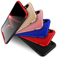 360 Degree Full Protection Hard Case For iphone X iphonex Back Cover shockproof case + glass