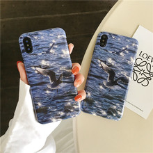 Ins seagull water ripple phone case For iphone X XS XR XSMAX fashion TPU soft shell For iphone 6 6s 7 8plus silicone case