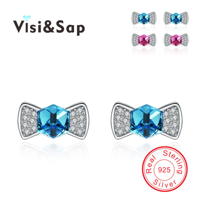Trendy Bow Blue crystal and pink crystal Stud Earrings 925 Sterling silver jewelry Christmas gifts Send Ms. Fine Jewellery B459