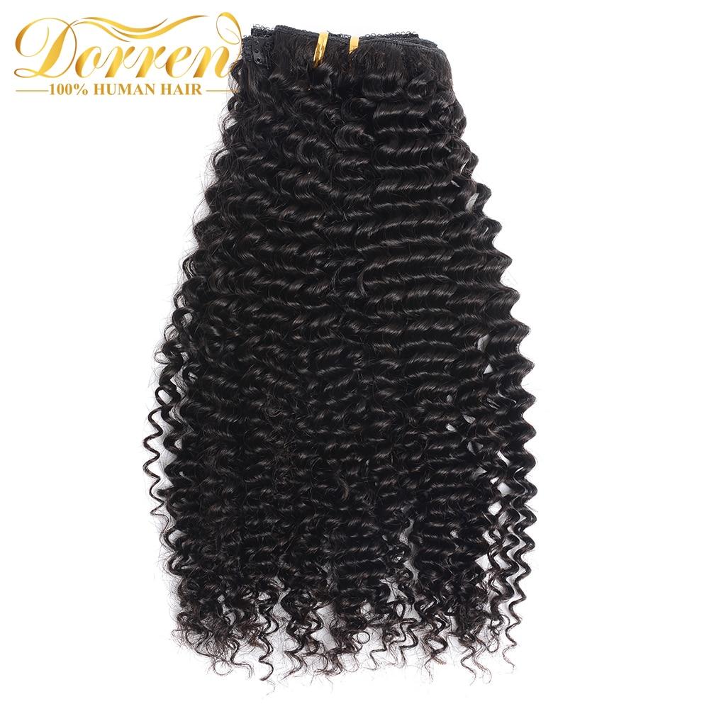 Doreen 毛ブラジル深いカーリー織り Remy 毛クリップ人間の毛延長フルヘッド 120 グラム 160 グラム  グループ上の ヘアエクステンション & ウィッグ からの クリップ ヘアエクステ の中 2