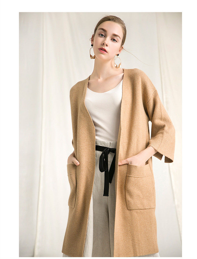 купить Cardigan S jacket jacket long sweater coat female loose sweater pocket casual maternity cardigan по цене 3943.18 рублей
