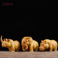 JIA GUI LUO Boxwood carving handicrafts home animals decorative ornaments rhino elephant hippopotamus A030