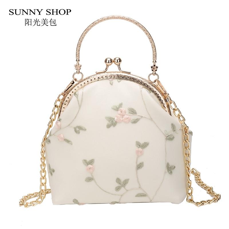 Солнечный магазин 3D в Корейском стиле с цветочной вышивкой Для женщин вечерняя сумочка; BS010 с цепочкой и металла Handle Mini Crossbody Сумка летняя пл...