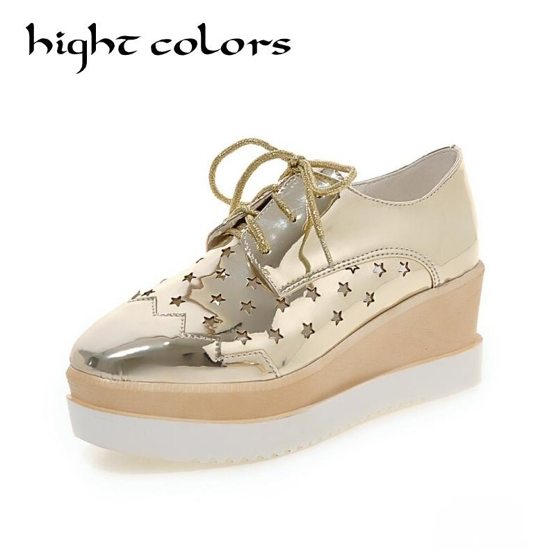 Europe America Fashion Star Cutout Lace Up High Heel Shoes For Women Square Toe Platform Wedges Brogue Oxford Casual Shoes US 10 europe america fashion star cutout lace up high heel shoes for women square toe platform wedges brogue oxford casual shoes us 10