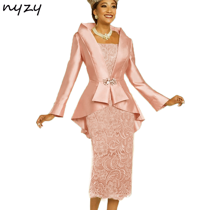 NYZY M23 Elegant Tea Length 2019 Two Piece Mother Of The Bride Dresses With Jacket Bolero Groom Mother Lace Gown Wedding Party