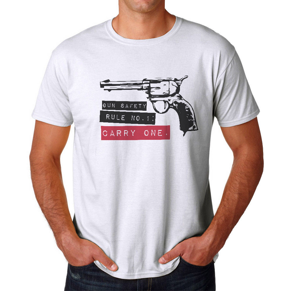 Gun Safety Rule Mens White T-shirt Printed T-Shirt Pure Cotton Men top tee